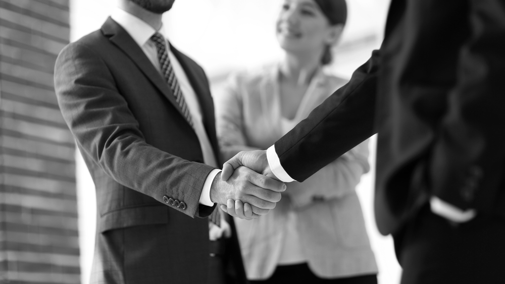 Équipe qui rencontre un client