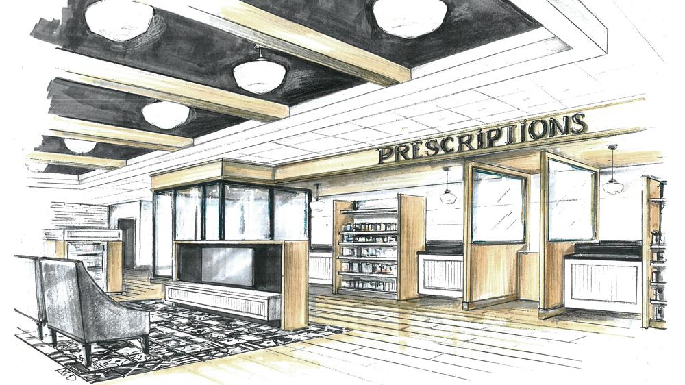 Croquis du design d'un comptoir d'accueil