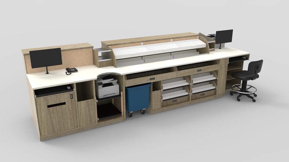 T-RX : Concept de comptoir de travail ergonomique pour laboratoire pharmaceutique.