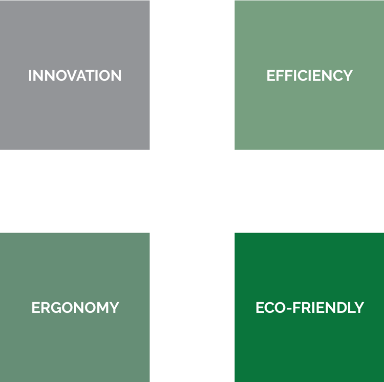 Four squares represent Planipharm Design's values: Innovation, Efficiency, Ergonomics, Ecology